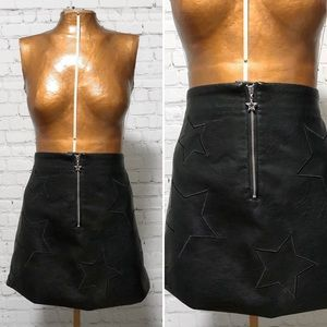 H&M Divided Faux Leather Star Mini Skirt EUC